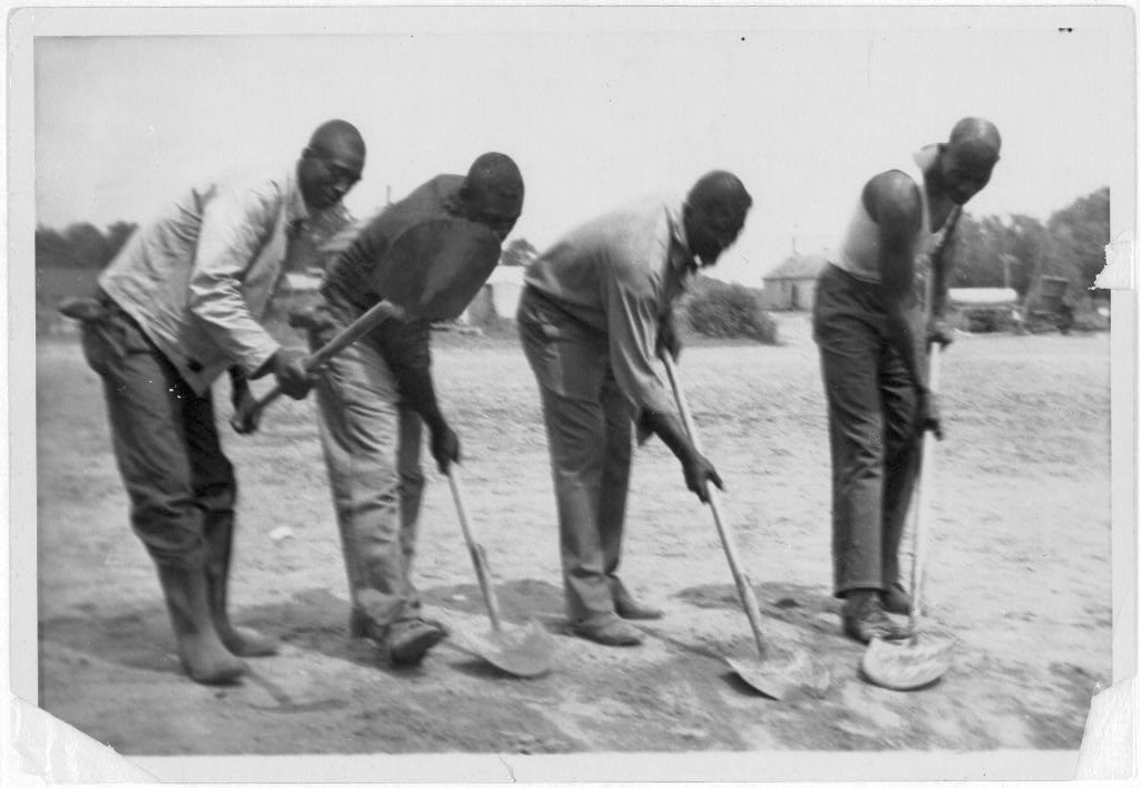 African American convicts working with shovels  possibly at Darrington    American Farmers Working